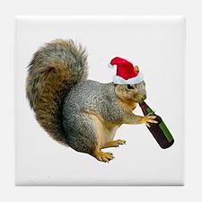 Santa Squirrel Beer Tile Coaster