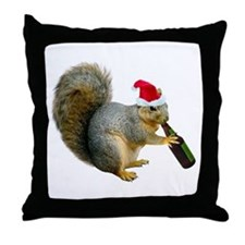 Santa Squirrel Beer Throw Pillow