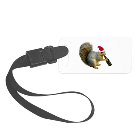 Santa Squirrel Beer Small Luggage Tag