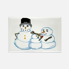 Snow family by Kristie Hubler Rectangle Magnet