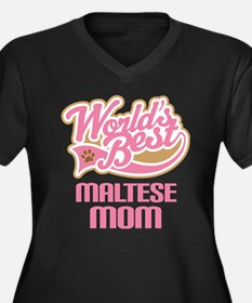 Maltese Mom Women's Plus Size V-Neck Dark T-Shirt