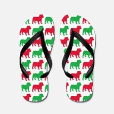 Bulldog Christmas or Holiday Silhouette Flip Flops