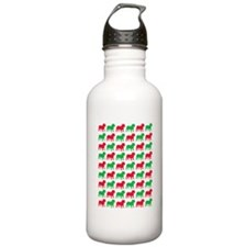 Bulldog Christmas or Holiday Silhouette Water Bottle