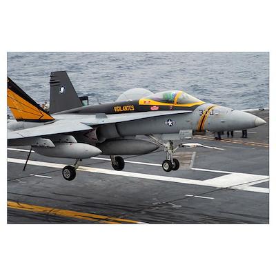 n F/A-18F Super Hornet lands aboard the aircraft c Poster
