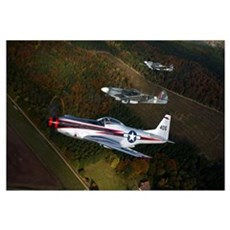 P-51 Cavalier Mustang with Supermarine Spitfire fi Canvas Art