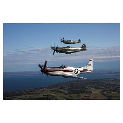 P-51 Cavalier Mustang with Supermarine Spitfire fi Poster