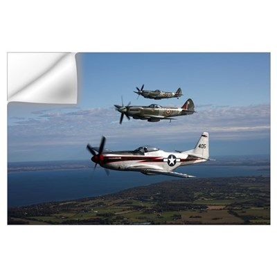 P-51 Cavalier Mustang with Supermarine Spitfire fi Wall Decal