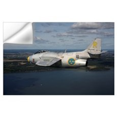 Saab J 29 vintage jet fighter of the Swedish Air F Wall Decal