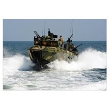 Sailors navigate the waters in a riverine command
