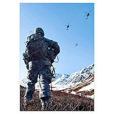 Soldier patrols through Alaska's Chugach Range as