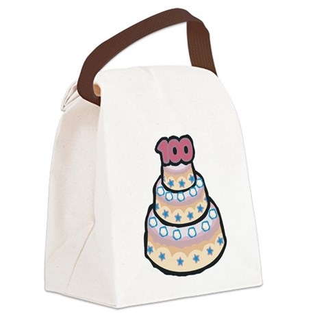 100th birthday cake.png Canvas Lunch Bag
