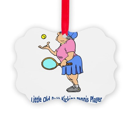 Butt Kicking Tennis Player Picture Ornament