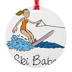 Ski Babe Round Ornament