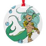 Anime Merman Round Ornament