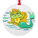 Kitty Mermaid Round Ornament