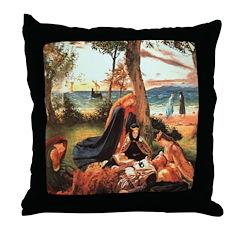 King Arthur in Avalon Throw Pillow