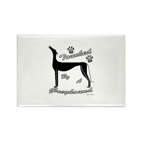 TOUCHED BY A GREYHOUND (BLK) Rectangle Magnet