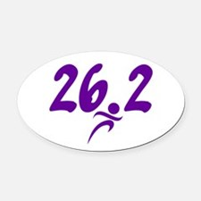 Purple 26.2 marathon Oval Car Magnet