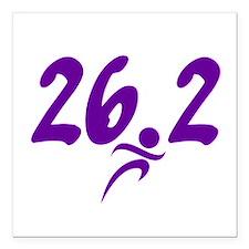 """Purple 26.2 marathon Square Car Magnet 3"""" x 3"""""""