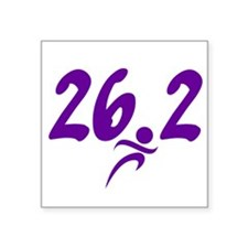 "Purple 26.2 marathon Square Sticker 3"" x 3"""