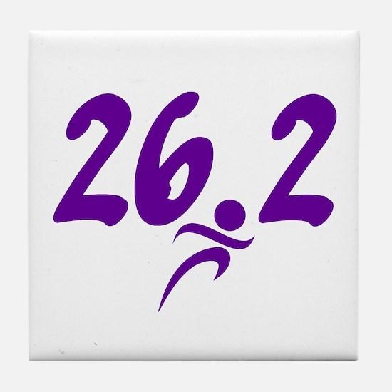Purple 26.2 marathon Tile Coaster