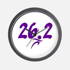 Purple 26.2 marathon Wall Clock