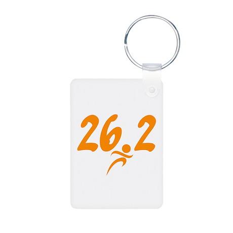 Orange 26.2 marathon Aluminum Photo Keychain