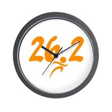 Orange 26.2 marathon Wall Clock