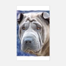 Alert Blue Chinese Shar Pei Rectangle Decal