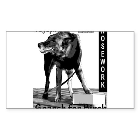 Nosework search for birch Malinois Sticker (Rectan