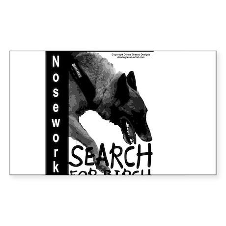 Malinois Nose work search birch Sticker (Rectangle