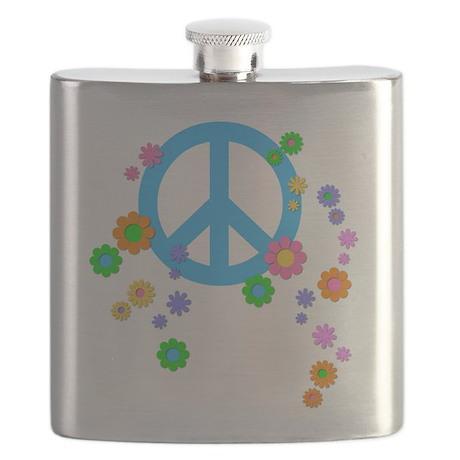 Peace Love Flowers Flask