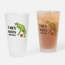 T-Rex hates Christmas Drinking Glass
