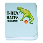 T-Rex hates Christmas baby blanket
