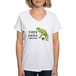 T-Rex hates Christmas Women's V-Neck T-Shirt