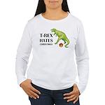T-Rex hates Christmas Women's Long Sleeve T-Shirt