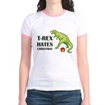 T-Rex hates Christmas Jr. Ringer T-Shirt