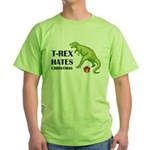 T-Rex hates Christmas Green T-Shirt