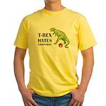 T-Rex hates Christmas Yellow T-Shirt