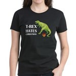 T-Rex hates Christmas Women's Dark T-Shirt