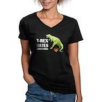 T-Rex hates Christmas Women's V-Neck Dark T-Shirt
