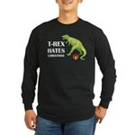 T-Rex hates Christmas Long Sleeve Dark T-Shirt