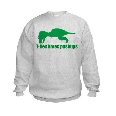 T-Rex Hates Pushups, Funny Dinosaur Kids Sweatshir