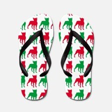 Boxer Christmas or Holiday Silhouette Flip Flops