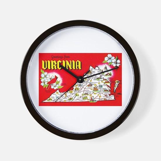 Virginia Map Greetings Wall Clock