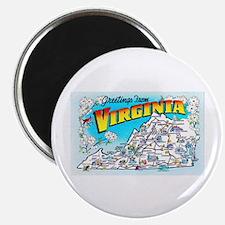 Virginia Map Greetings Magnet