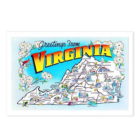 Virginia Map Greetings Postcards (Package of 8)