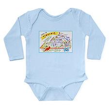 Virginia Map Greetings Long Sleeve Infant Bodysuit