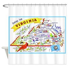 Virginia Map Greetings Shower Curtain
