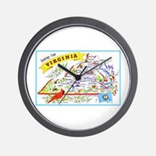 Virginia Map Greetings Wall Clock